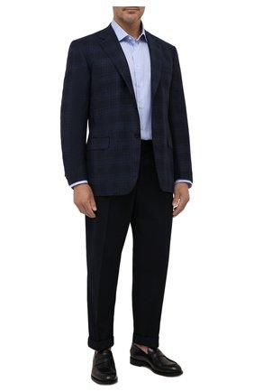 Мужская хлопковая сорочка BRIONI голубого цвета, арт. RCL40P/0909G | Фото 2 (Длина (для топов): Стандартные; Рукава: Длинные; Материал внешний: Хлопок; Случай: Формальный; Стили: Классический; Принт: Клетка; Воротник: Акула; Рубашки М: Classic Fit; Манжеты: На пуговицах; Big sizes: Big Sizes)