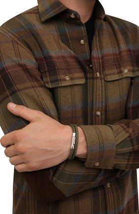 Мужской кожаный браслет TOD'S хаки цвета, арт. XEMB1900200FLR | Фото 2