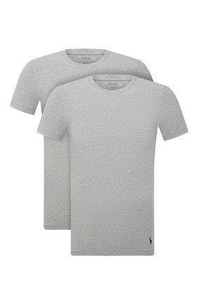 Мужская комплект из двух футболок POLO RALPH LAUREN серого цвета, арт. 714835960 | Фото 1 (Материал внешний: Хлопок; Кросс-КТ: домашняя одежда; Мужское Кросс-КТ: Футболка-белье; Рукава: Короткие; Длина (для топов): Стандартные)