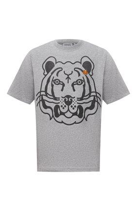 Мужская хлопковая футболка KENZO серого цвета, арт. FB65TS5224SA | Фото 1 (Рукава: Короткие; Материал внешний: Хлопок; Длина (для топов): Стандартные; Принт: С принтом; Стили: Кэжуэл)