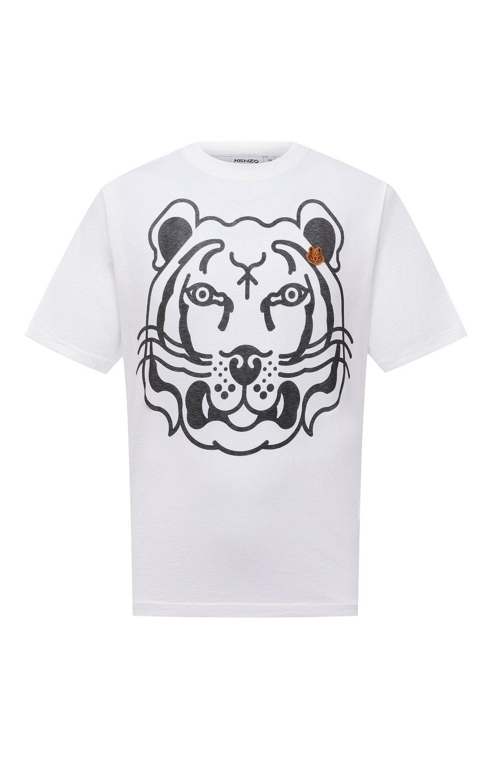 Мужская хлопковая футболка KENZO белого цвета, арт. FB65TS5224SA   Фото 1 (Рукава: Короткие; Длина (для топов): Стандартные; Принт: С принтом; Материал внешний: Хлопок; Стили: Кэжуэл)
