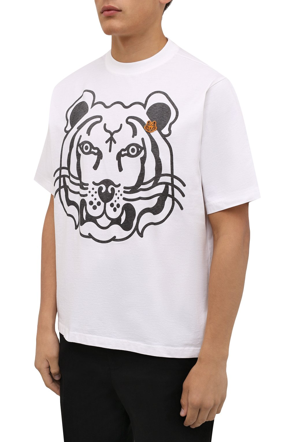 Мужская хлопковая футболка KENZO белого цвета, арт. FB65TS5224SA   Фото 3 (Рукава: Короткие; Длина (для топов): Стандартные; Принт: С принтом; Материал внешний: Хлопок; Стили: Кэжуэл)