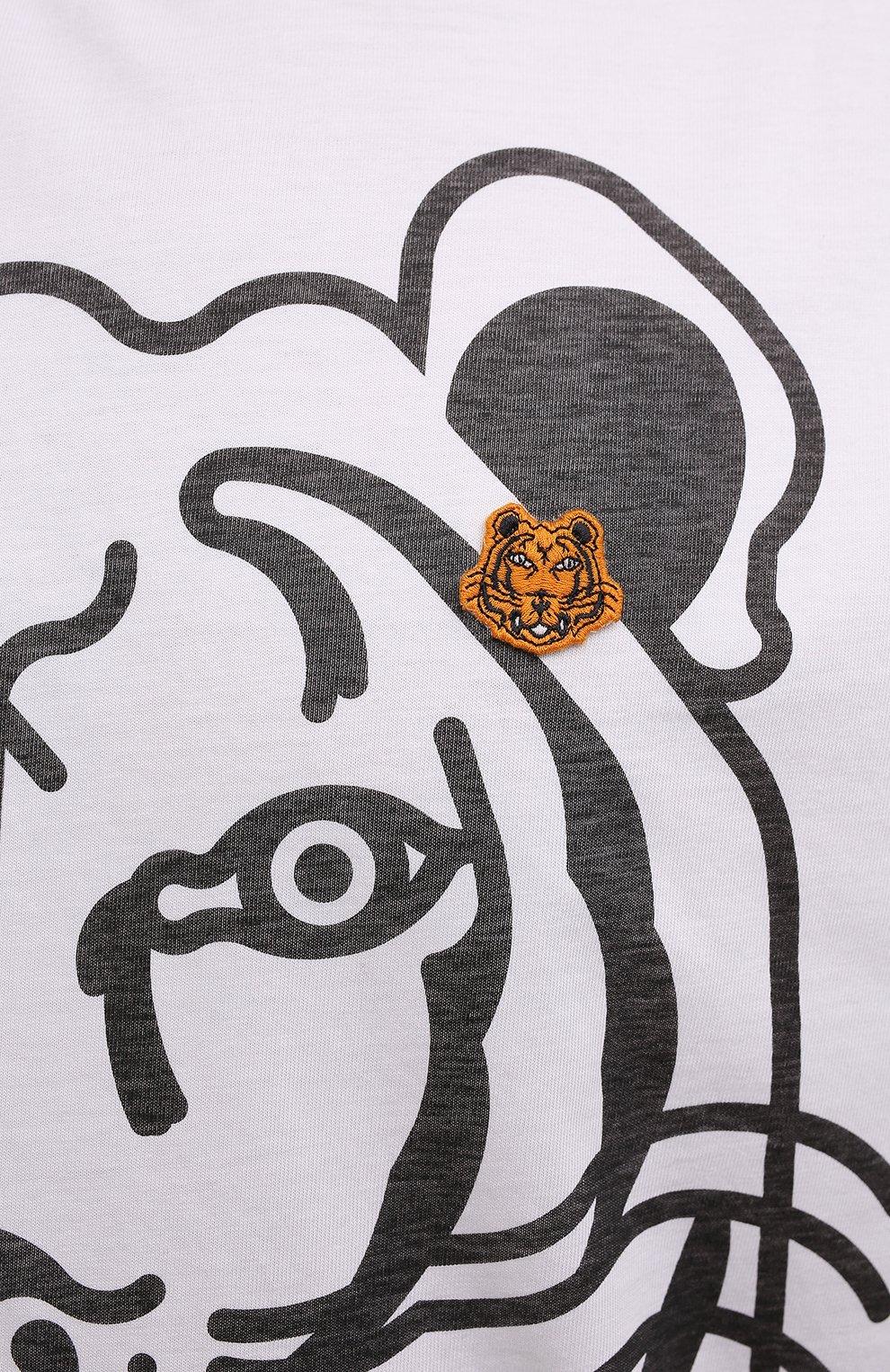 Мужская хлопковая футболка KENZO белого цвета, арт. FB65TS5224SA   Фото 5 (Рукава: Короткие; Длина (для топов): Стандартные; Принт: С принтом; Материал внешний: Хлопок; Стили: Кэжуэл)