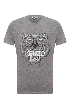 Мужская хлопковая футболка KENZO серого цвета, арт. FB65TS0204YA | Фото 1 (Рукава: Короткие; Материал внешний: Хлопок; Длина (для топов): Стандартные; Принт: С принтом; Стили: Кэжуэл)