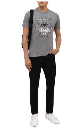 Мужская хлопковая футболка KENZO серого цвета, арт. FB65TS0204YA | Фото 2 (Рукава: Короткие; Материал внешний: Хлопок; Длина (для топов): Стандартные; Принт: С принтом; Стили: Кэжуэл)