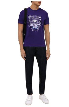 Мужская хлопковая футболка KENZO фиолетового цвета, арт. FB65TS0204YA   Фото 2