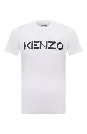 Мужская хлопковая футболка KENZO белого цвета, арт. FB65TS0004SA | Фото 1