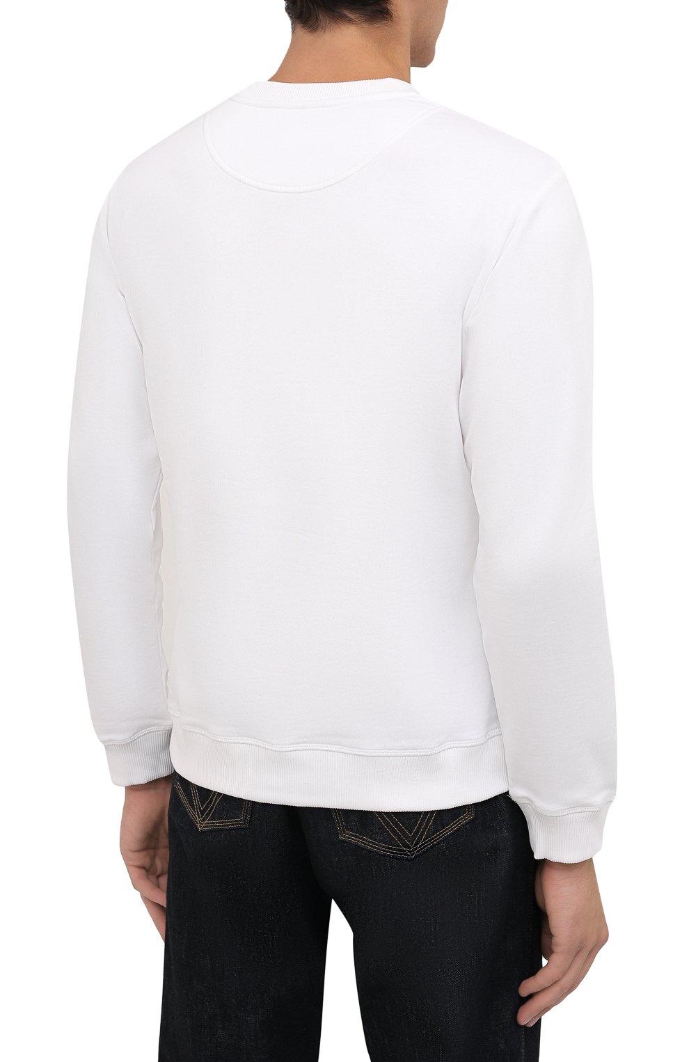 Мужской хлопковый свитшот KENZO белого цвета, арт. FB65SW1234XA | Фото 4 (Рукава: Длинные; Длина (для топов): Стандартные; Принт: С принтом; Мужское Кросс-КТ: свитшот-одежда; Материал внешний: Хлопок; Стили: Кэжуэл)