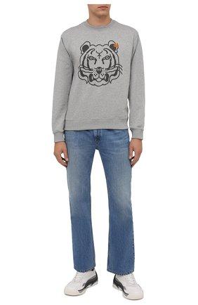 Мужской хлопковый свитшот KENZO серого цвета, арт. FB65SW0054M0 | Фото 2 (Материал внешний: Хлопок; Рукава: Длинные; Длина (для топов): Стандартные; Мужское Кросс-КТ: свитшот-одежда; Принт: С принтом; Стили: Кэжуэл)