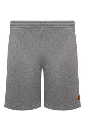 Мужские хлопковые шорты KENZO серого цвета, арт. FB55PA7274ML | Фото 1 (Материал внешний: Хлопок; Кросс-КТ: Трикотаж; Стили: Спорт-шик; Принт: Без принта; Длина Шорты М: До колена)