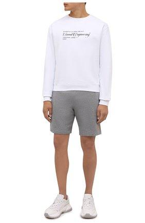 Мужские хлопковые шорты KENZO серого цвета, арт. FB55PA7274ML | Фото 2 (Материал внешний: Хлопок; Кросс-КТ: Трикотаж; Стили: Спорт-шик; Принт: Без принта; Длина Шорты М: До колена)
