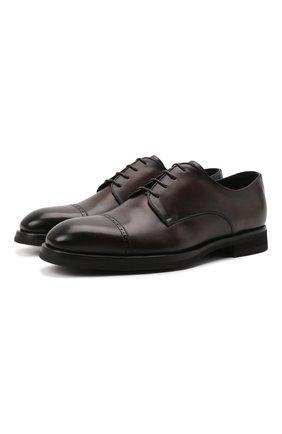 Мужские кожаные дерби BARRETT темно-коричневого цвета, арт. 192U042.39/BETIS CREAM | Фото 1 (Материал утеплителя: Натуральный мех; Стили: Классический; Мужское Кросс-КТ: Броги-обувь)