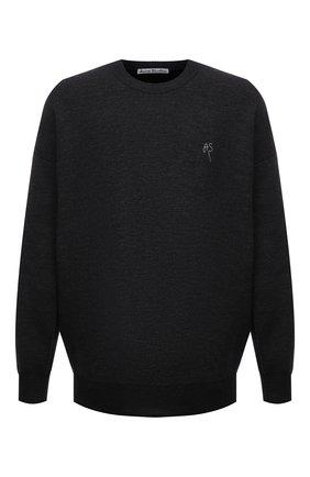 Мужской свитер из шерсти и хлопка ACNE STUDIOS темно-серого цвета, арт. B60177 | Фото 1