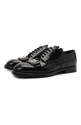 Мужские кожаные дерби michelangelo DOLCE & GABBANA черного цвета, арт. A10684/A1203 | Фото 1 (Материал внутренний: Натуральная кожа; Стили: Классический)