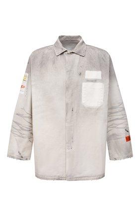 Мужская джинсовая рубашка HERON PRESTON светло-серого цвета, арт. HMYD005F21FAB0010500   Фото 1