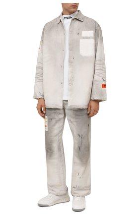 Мужская джинсовая рубашка HERON PRESTON светло-серого цвета, арт. HMYD005F21FAB0010500   Фото 2