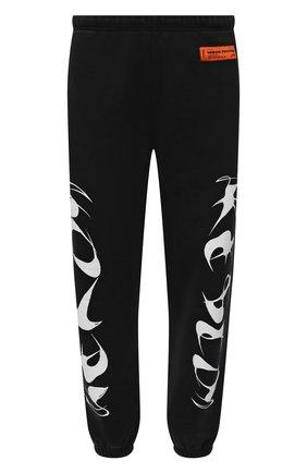Мужские хлопковые джоггеры HERON PRESTON черного цвета, арт. HMCH024F21JER0011001 | Фото 1 (Длина (брюки, джинсы): Стандартные; Материал внешний: Хлопок; Мужское Кросс-КТ: Брюки-трикотаж; Силуэт М (брюки): Джоггеры; Стили: Спорт-шик)