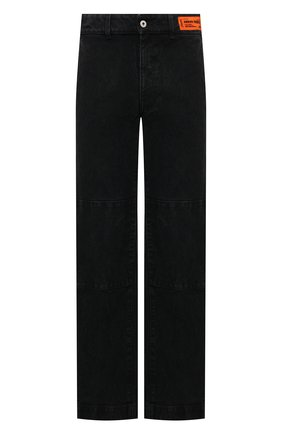 Мужские джинсы HERON PRESTON черного цвета, арт. HMCG009F21FAB0011000 | Фото 1 (Длина (брюки, джинсы): Стандартные; Материал внешний: Хлопок; Кросс-КТ: Деним; Силуэт М (брюки): Широкие; Стили: Гранж)