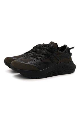 Мужские комбинированные кроссовки GIORGIO ARMANI хаки цвета, арт. X2X143/XM983 | Фото 1 (Материал внутренний: Натуральная кожа; Материал внешний: Текстиль; Стили: Гранж; Подошва: Массивная)