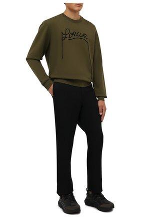Мужские комбинированные кроссовки GIORGIO ARMANI хаки цвета, арт. X2X143/XM983 | Фото 2 (Материал внутренний: Натуральная кожа; Материал внешний: Текстиль; Стили: Гранж; Подошва: Массивная)