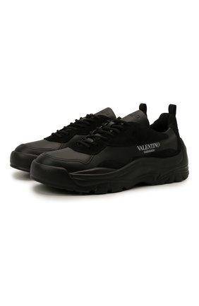 Мужские кожаные кроссовки gumboy VALENTINO черного цвета, арт. WY2S0B17/VRN   Фото 1 (Материал внутренний: Текстиль; Стили: Гранж; Подошва: Массивная)