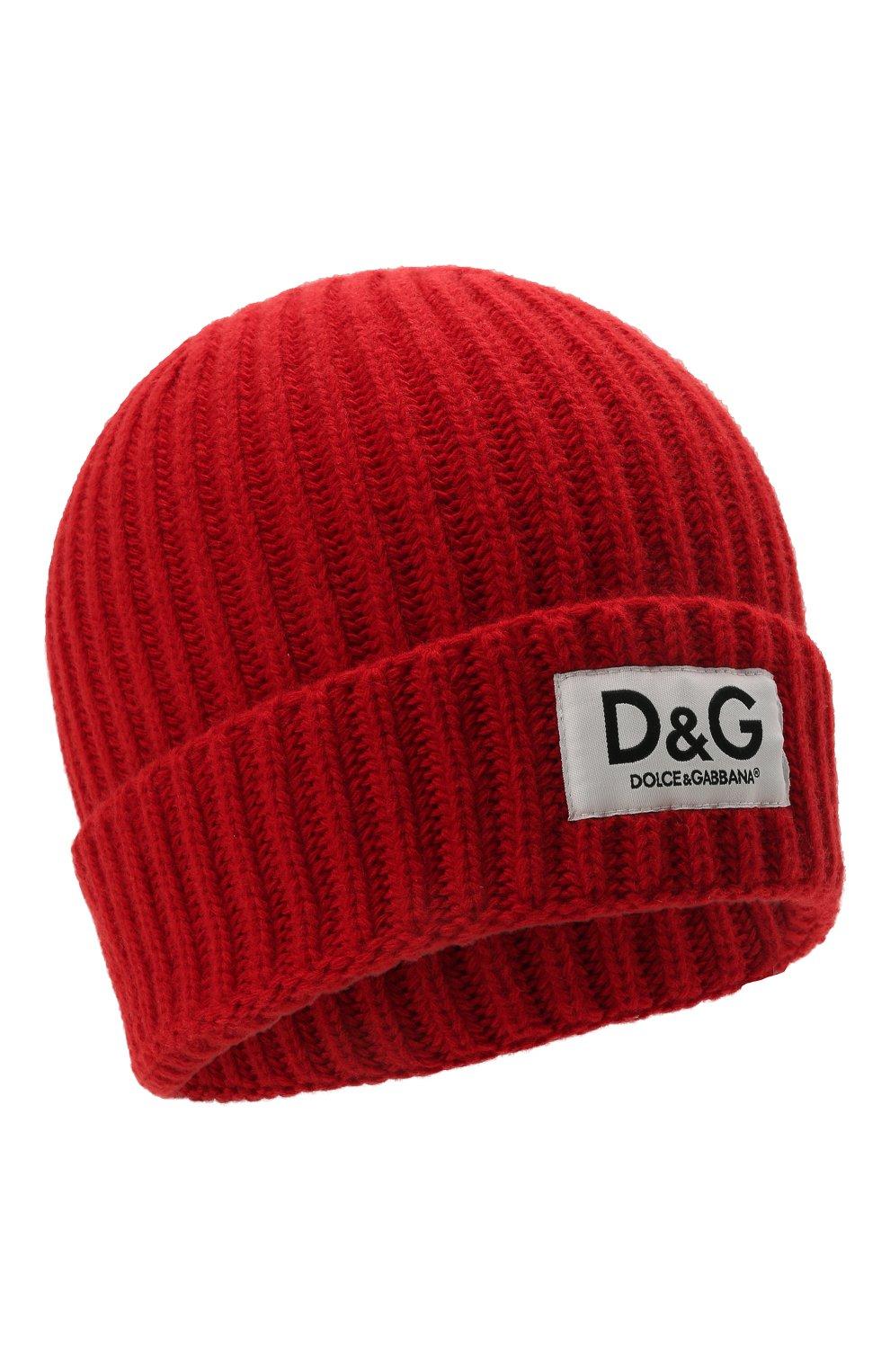 Детского шерстяная шапка DOLCE & GABBANA красного цвета, арт. LBKH69/JBVJ1 | Фото 1 (Материал: Шерсть)
