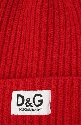 Детского шерстяная шапка DOLCE & GABBANA красного цвета, арт. LBKH69/JBVJ1 | Фото 3 (Материал: Шерсть)