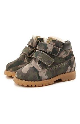 Детские кожаные ботинки WALKEY хаки цвета, арт. Y1B4-41377-1343/19-24 | Фото 1 (Материал утеплителя: Натуральный мех)