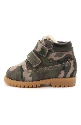 Детские кожаные ботинки WALKEY хаки цвета, арт. Y1B4-41377-1343/19-24 | Фото 2 (Материал утеплителя: Натуральный мех)