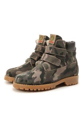 Детские кожаные ботинки WALKEY хаки цвета, арт. Y1B4-41377-1343/25-29 | Фото 1 (Материал утеплителя: Натуральный мех)
