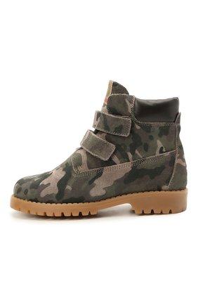 Детские кожаные ботинки WALKEY хаки цвета, арт. Y1B4-41377-1343/25-29 | Фото 2 (Материал утеплителя: Натуральный мех)