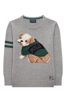 Детский хлопковый пуловер POLO RALPH LAUREN серого цвета, арт. 321851001 | Фото 1 (Материал внешний: Хлопок; Рукава: Длинные; Мальчики Кросс-КТ: Пуловер-одежда; Ростовка одежда: 18 мес | 86 см, 3 года | 98 см, 4 года | 104 см)