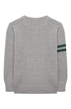 Детский хлопковый пуловер POLO RALPH LAUREN серого цвета, арт. 321851001 | Фото 2 (Материал внешний: Хлопок; Рукава: Длинные; Мальчики Кросс-КТ: Пуловер-одежда; Ростовка одежда: 18 мес | 86 см, 3 года | 98 см, 4 года | 104 см)