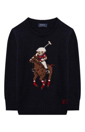 Детский хлопковый пуловер POLO RALPH LAUREN синего цвета, арт. 321850996 | Фото 1 (Материал внешний: Хлопок; Рукава: Длинные; Мальчики Кросс-КТ: Пуловер-одежда; Ростовка одежда: 18 мес | 86 см, 3 года | 98 см, 4 года | 104 см)
