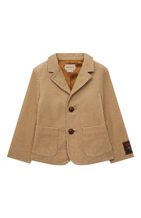 Детский хлопковый пиджак GUCCI бежевого цвета, арт. 653793/XWAP0 | Фото 1 (Материал внешний: Хлопок; Материал подклада: Вискоза; Рукава: Длинные)