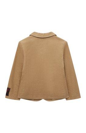 Детский хлопковый пиджак GUCCI бежевого цвета, арт. 653793/XWAP0 | Фото 2 (Материал внешний: Хлопок; Материал подклада: Вискоза; Рукава: Длинные)