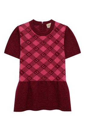 Женский шерстяное платье GUCCI бордового цвета, арт. 657381/XKBXM | Фото 1 (Рукава: Короткие; Материал внешний: Шерсть)