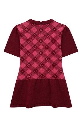 Женский шерстяное платье GUCCI бордового цвета, арт. 657381/XKBXM | Фото 2 (Рукава: Короткие; Материал внешний: Шерсть)