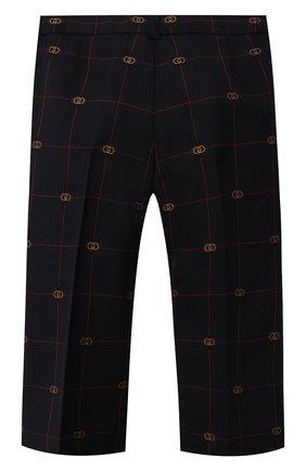 Детские шерстяные брюки GUCCI темно-синего цвета, арт. 665125/XWA0Q   Фото 2 (Материал внешний: Шерсть; Материал подклада: Купро)