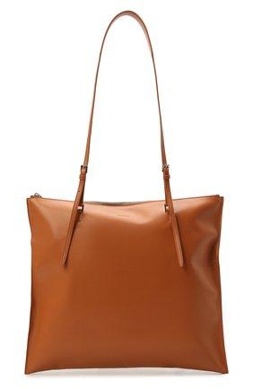 Женский сумка holster JIL SANDER коричневого цвета, арт. JSPT852586-WTB00103 | Фото 1 (Материал: Натуральная кожа; Размер: large; Сумки-технические: Сумки-шопперы)