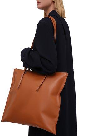 Женский сумка holster JIL SANDER коричневого цвета, арт. JSPT852586-WTB00103 | Фото 2 (Материал: Натуральная кожа; Размер: large; Сумки-технические: Сумки-шопперы)