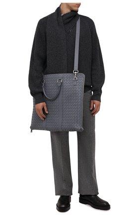 Мужская кожаный кофр BOTTEGA VENETA серого цвета, арт. 669369/V0E51   Фото 2