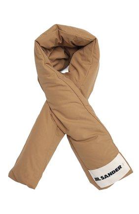 Женский пуховый шарф JIL SANDER бежевого цвета, арт. JPPT590294-WT441100 | Фото 1 (Материал: Синтетический материал, Текстиль)