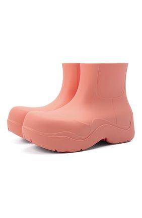 Женские сапоги bv puddle BOTTEGA VENETA розового цвета, арт. 640045/V00P0 | Фото 1 (Материал внутренний: Натуральная кожа, Текстиль; Подошва: Платформа; Каблук тип: Устойчивый; Материал внешний: Резина; Каблук высота: Средний)