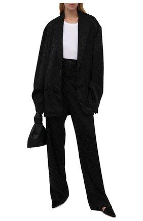Женский жакет BALENCIAGA черного цвета, арт. 671671/TI038 | Фото 2 (Материал внешний: Вискоза, Синтетический материал; Материал подклада: Вискоза; Длина (для топов): Удлиненные; Рукава: Длинные; Женское Кросс-КТ: Жакет-одежда; Случай: Повседневный; Стили: Гранж; 1-2-бортные: Однобортные)