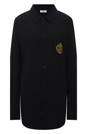 Женская рубашка из вискозы BALENCIAGA черного цвета, арт. 671670/TL021 | Фото 1 (Рукава: Длинные; Материал внешний: Вискоза; Длина (для топов): Удлиненные; Женское Кросс-КТ: Рубашка-одежда; Принт: С принтом; Стили: Гранж)