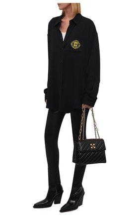 Женская рубашка из вискозы BALENCIAGA черного цвета, арт. 671670/TL021 | Фото 2 (Рукава: Длинные; Материал внешний: Вискоза; Длина (для топов): Удлиненные; Женское Кросс-КТ: Рубашка-одежда; Принт: С принтом; Стили: Гранж)