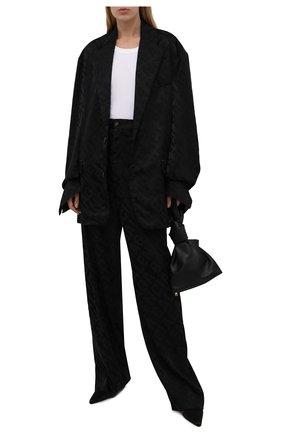 Женские брюки из вискозы BALENCIAGA черного цвета, арт. 671660/TI038 | Фото 2 (Материал внешний: Вискоза, Синтетический материал; Длина (брюки, джинсы): Удлиненные; Женское Кросс-КТ: Брюки-одежда; Силуэт Ж (брюки и джинсы): Широкие; Стили: Гранж)