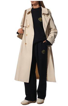 Женский хлопковый свитшот BALENCIAGA синего цвета, арт. 671125/TLV60 | Фото 2 (Материал внешний: Хлопок; Длина (для топов): Удлиненные; Рукава: Длинные; Женское Кросс-КТ: Свитшот-одежда; Стили: Спорт-шик)