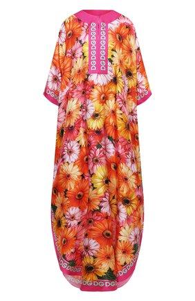 Женское шелковое платье DOLCE & GABBANA разноцветного цвета, арт. F6YB9T/FI169 | Фото 1 (Материал внешний: Шелк; Рукава: 3/4; Длина Ж (юбки, платья, шорты): Макси; Женское Кросс-КТ: Платье-одежда; Случай: Повседневный; Стили: Бохо)